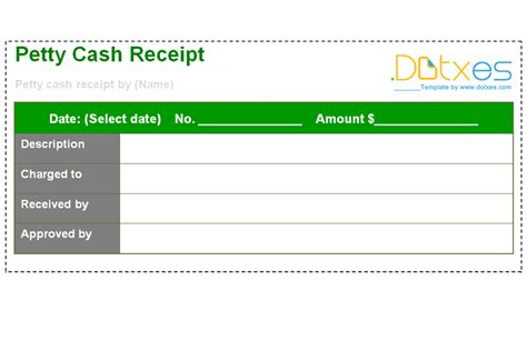 petty cash receipt template dotxes