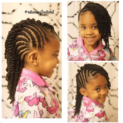 Top Cornrows With Ends Twisted Up Into Ponytail Back