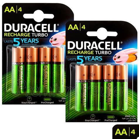 8 x duracell rechargeable aa batteries 2500 mah replaces 2400 duralock nimh hr6 ebay
