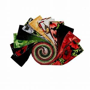 Clothworks Poppy Poetry Strip Rolls  40 Pcs