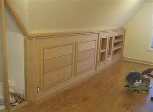 Finished built-in knee wall cabinetry! Except for