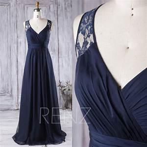 2016 navy blue bridesmaid dress long v neck wedding dress With navy blue long dress for wedding