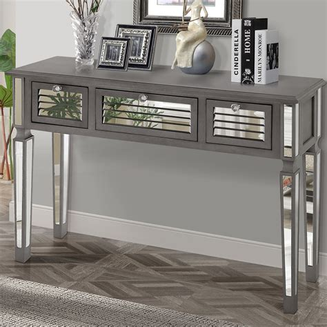 mirror console table gallerie decor summit mirrored console table reviews