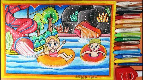 gambar kolam renang water boom  gradasi warna oil