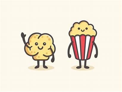 Popcorn Character Cartoon Simple Dribbble Drawing Pop