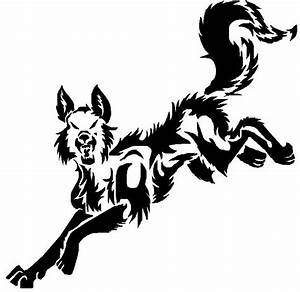 Running Wolf Tattoo - Cliparts.co