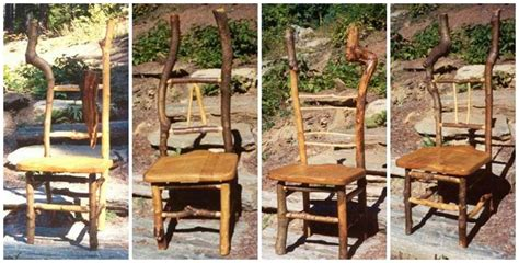 Rustic Cabin Wood Dining Side Chairs With Natural Twigs