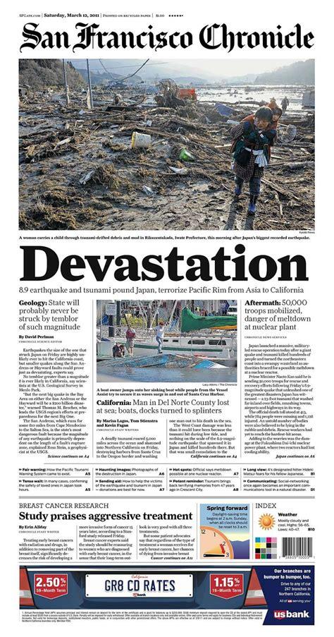 chronicle covers  quake tsunami brought devastation