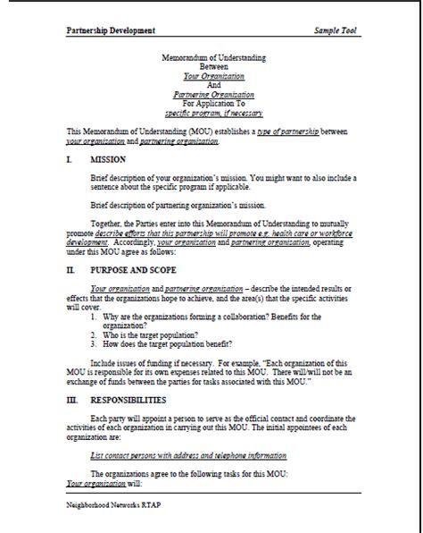 memorandum of understanding template memorandum of understanding sle template business