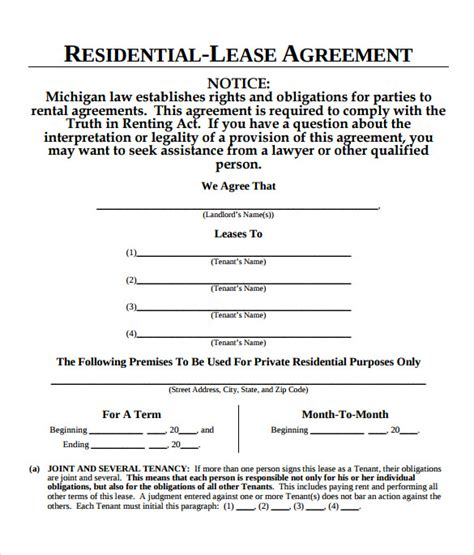 sample blank lease agreement   format