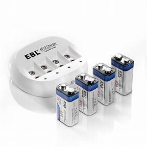 4x Ebl 600mah 9v 6f22 Rechargeable Batteries   9 Volt Li