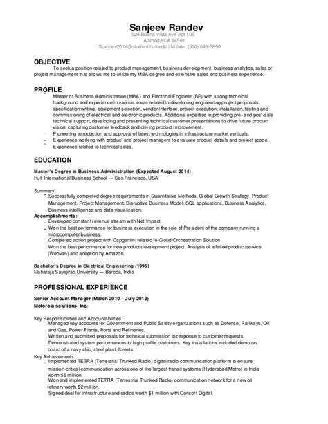 Electrical Engineering Resume Summary by Sanjeev Randev Resume Electrical Engineer Mba 2014