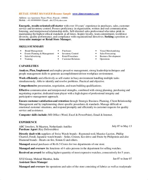 Retail Manager Resume Skills by 8 Retail Manager Resumes Free Sle Exle Format