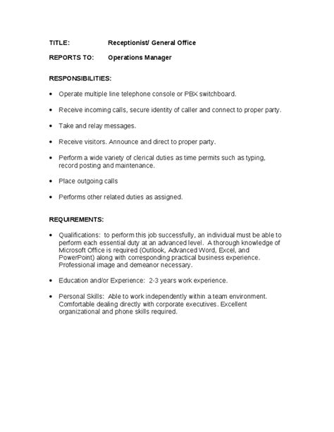 duties of a receptionist for resume best resume exle