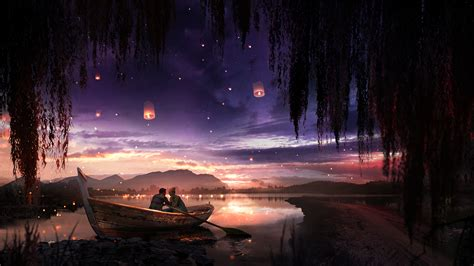 1366x768 Boat Couple Dreamy Painting Lake Lantern 1366x768