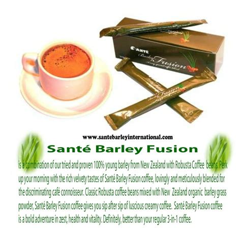 Sante barley fusion coffee is a combination of our tried and proven 100% young barley from new zealand with robusta coffee beans. SANTE PURE BARLEY: Sante pure barley (Makati, Philippines). General