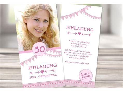 einladungskarte  geburtstag rosa wimpel