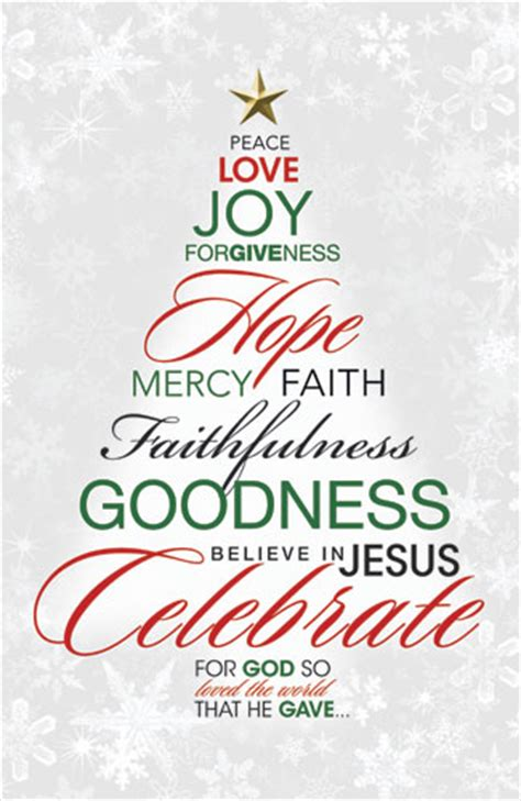 christmas tree decorated whith words postcards church postcards outreach