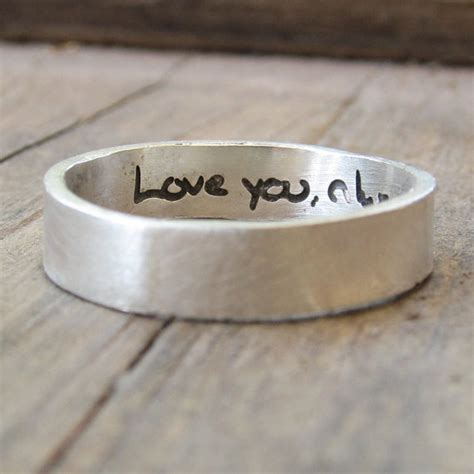 personalized ring actual handwriting jewelry engraved silver wedding band memorial jewelry