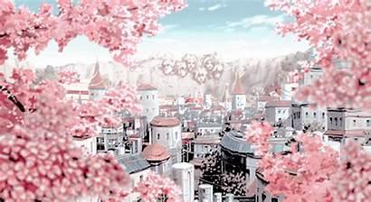 Blossom Cherry Anime Scenery Gifs Konoha Village