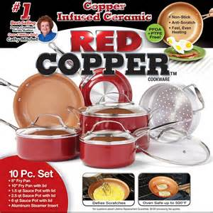 As Seen On TV Red Copper Pan Ceramic Cookware 10 Piece Set