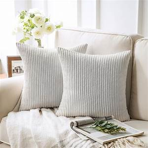 Soft, Corduroy, Striped, Velvet, Square, Decorative, Throw, Pillow, Cusion, For, Couch, 18, U0026quot, X, 18, U0026quot, True