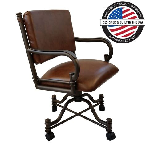 casual rolling caster dining arm chair with swivel and