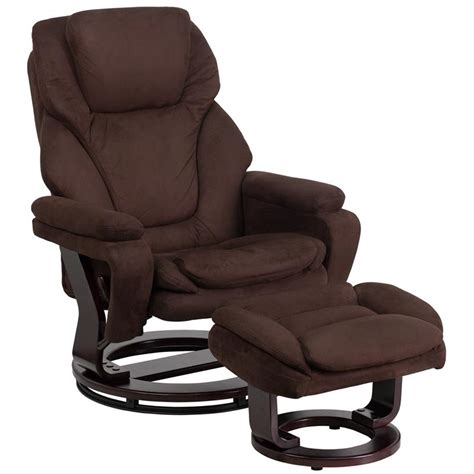 Microfiber Chair And Ottoman flash furniture contemporary brown microfiber recliner and