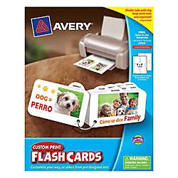 Avery 04760 Printable Flash Cards 2 1 2 X 4 White 8 Avery Custom Print Flash Cards With Ring And Tabs 3 X 5