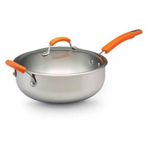 rachael ray stainless steel ii  quart covered chef pan  helper handle orange  meyer