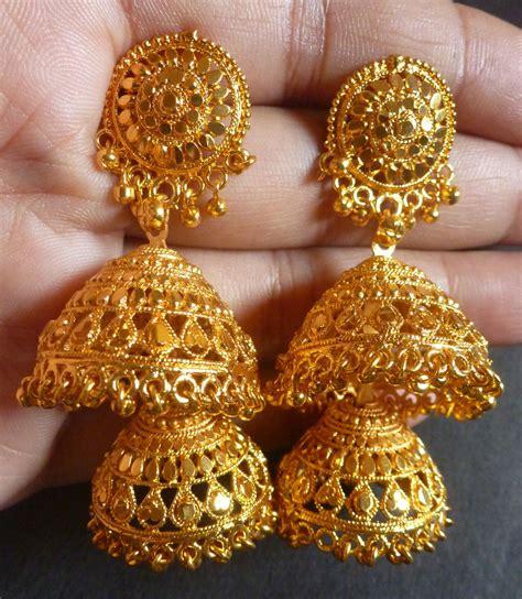 22k gold plated 2 steps bridal wedding indian jhumka earrings jhumki earrings ebay