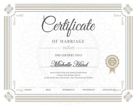 marriage certificate template certificates hloom