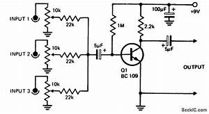 gt circuits gt one transistor audio mixer l53841 nextgr With audio mixer circuit one transistor audio mixer single transistor audio