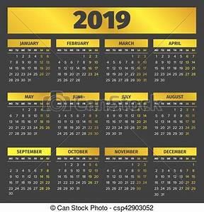 Calendário, 2019, modelo Experiência dourada, meses, 2019
