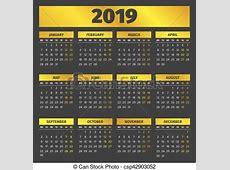 Clip Arte Vetor de calendário, 2019, modelo Calendar