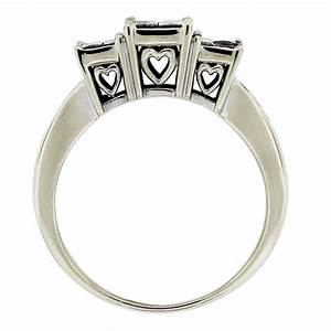 14kt white gold princess cut diamond heart accent With white gold diamond cut wedding ring