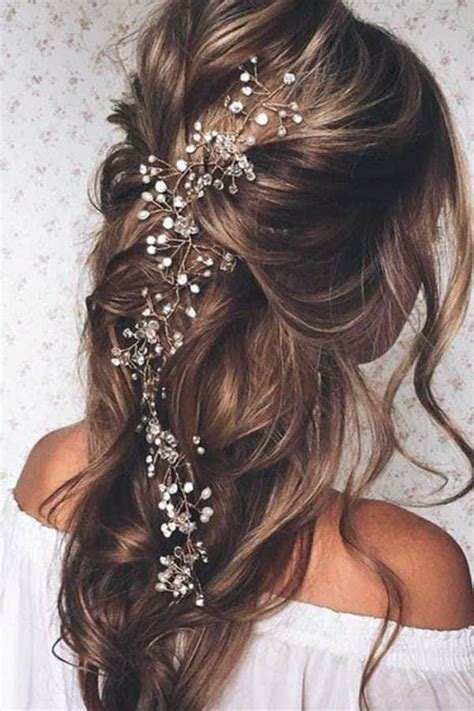 whimsical winter wedding hairstyle ideas   leave