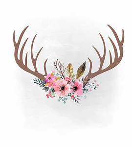 Pink Floral Antlers SVG Clipart Boho Svg Feathers Within