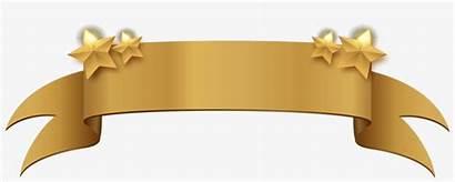 Banner Ribbon Gold Title Clipart Golden Pngkey
