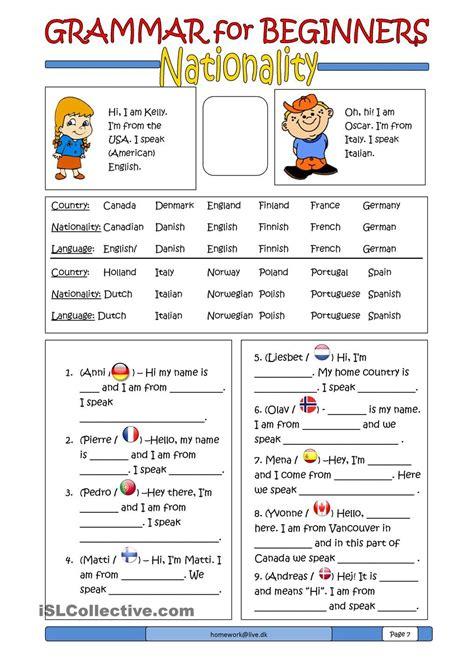 grammar  beginners nationality teaching english