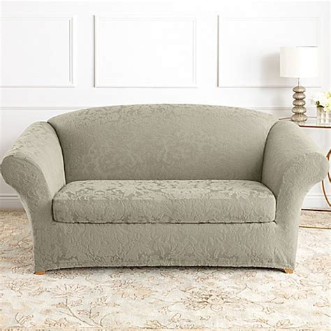 sure fit sofa covers sale sure fit stretch jacquard sage sofa and loveseat