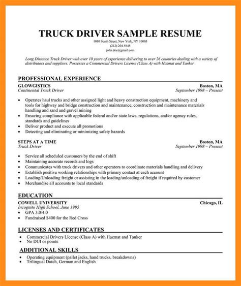 Truck Driver Resume Format by 12 13 Resume Exles For Truck Drivers
