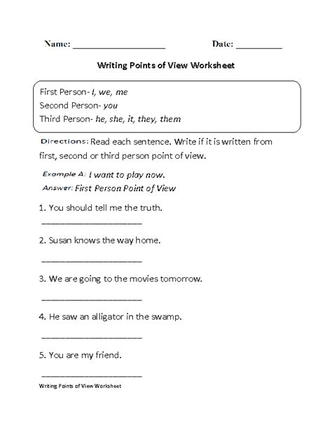 and third person worksheets worksheets for all