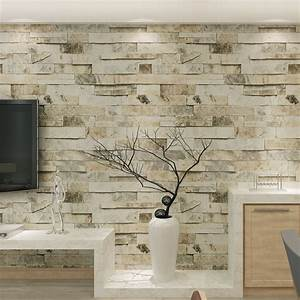 Wall Paper Vinyl 3D Brick Stone Effect for Living Room TV