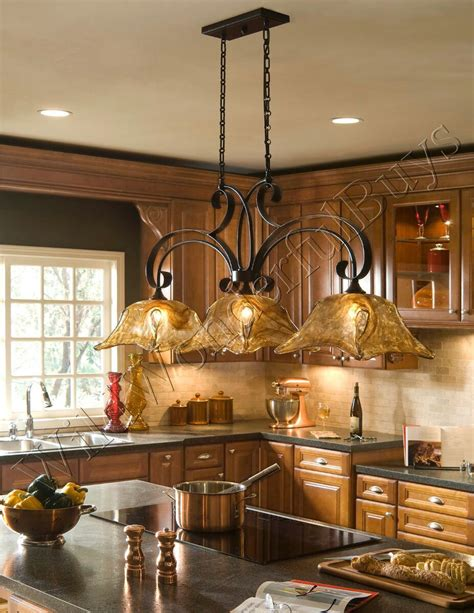 FRENCH COUNTRY 3 Light Tulip CHANDELIER Kitchen Island