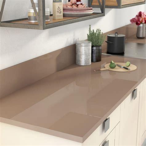 cuisine taupe brillant plan de travail stratifié brun tweed 2 brillant l 300 x p