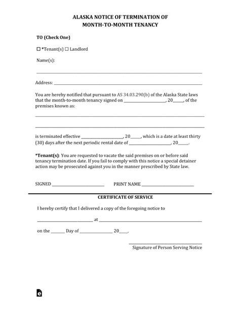 alaska eviction forms free alaska termination lease letter form 30 day notice