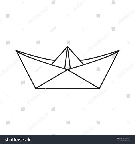 Toy Boat Outline by Icon Paper Boat Outline Style Vector Stock Vector