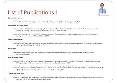 Listing Publications And Presentations On Resume by Presentation Cv 2013