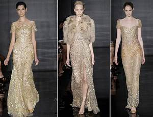 embroidered gold wedding dresses by reem acra onewedcom With gold dresses for weddings